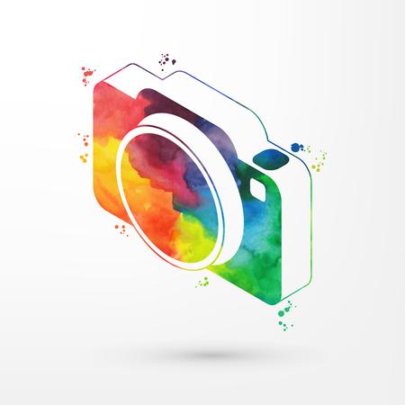 Vector illustration of isometric watercolor camera icon, rainbow paints