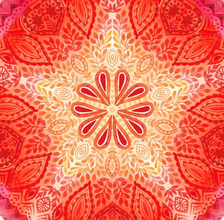 Watercolor mandala. Decor for your design, lace ornament.