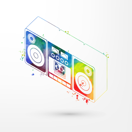Vector illustration of isometric watercolor tape recorder, rainbow paints. Old fashion vintage boom box, retro cassette recorder