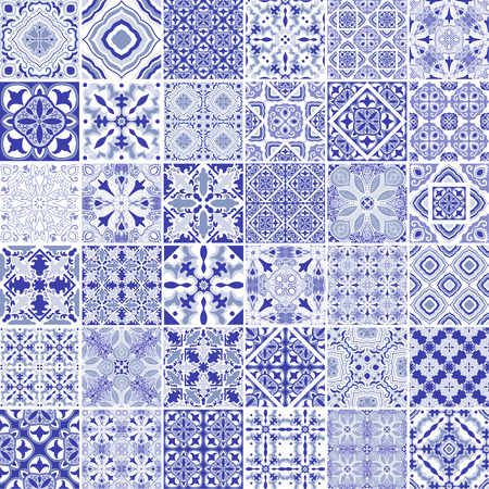Traditional ornate portuguese decorative tiles azulejos. Vintage pattern in blue theme. Abstract background. Vector hand drawn illustration, typical portuguese tiles, Ceramic tiles. Set of mandalas. Illustration