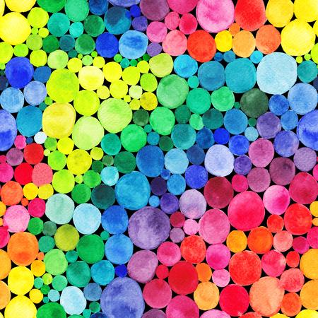 Watercolor Rainbow circles seamless pattern. Vitamin concept
