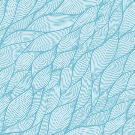 Blue vector seamless abstract hand-drawn pattern. Wave patterns (seamlessly tiling). Hand drawn seamless wave background. Illustration