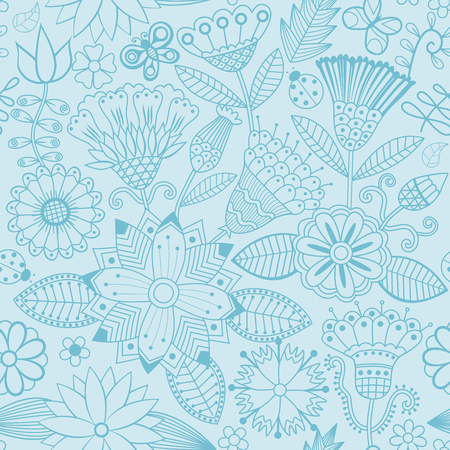 Vector flower pattern. Black and white seamless botanic texture, detailed flowers illustrations. All elements are not cropped and hidden under mask. Doodle style, spring floral background