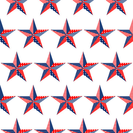 Five-pointed stars pattern on white background, USA national flag colors vector illustration