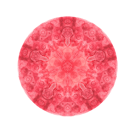 Watercolor round mandala. Decor for your design lace ornament pattern in oriental style