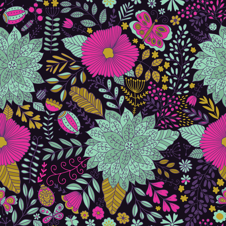 Vector flower pattern. Seamless botanic texture, 矢量图像