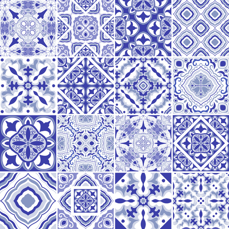 Traditional ornate portuguese decorative tiles azulejos. Abstract background. Vector hand drawn illustration, typical portuguese tiles, Ceramic tiles. Set of mandalas Banco de Imagens - 87927775