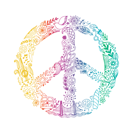 Vector peace symbol made of hippie theme doodle handdrawn icons, pacifism sign. Hippie style ornamental background. Love and peace, hand-drawn doodle background. Colorful peace symbol on white background. Retro 1960s, 70s Illustration