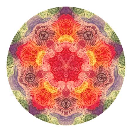 Colorful watercolor mandala. Oriental vintage round pattern. Hand drawn abstract background. Mystic ottoman motif. Invitation, t-shirt print, wedding card. Tattoo element