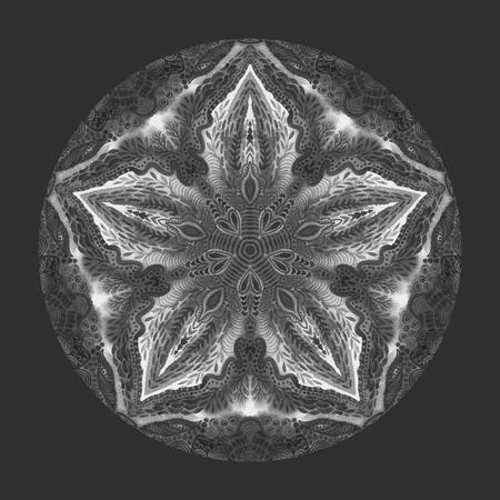 Detaled watercolor mandala. Oriental vintage round pattern. Hand drawn abstract background. Mystic ottoman motif. Invitation, t-shirt print, wedding card. Tattoo element