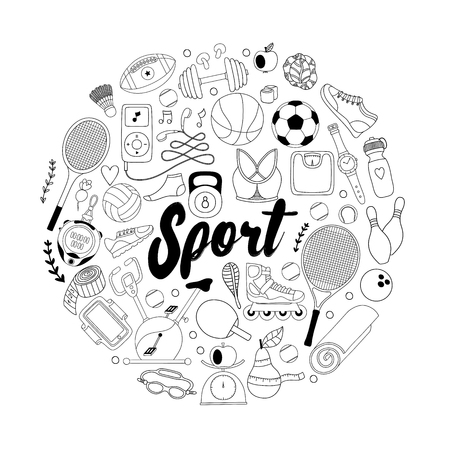 Fitness and sport elements in doodle style.