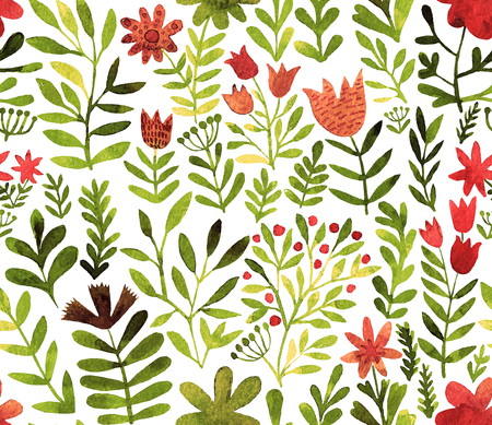 Vector pattern with flowers and plants. Floral decor. Original floral seamless background. Bright colors watercolor, autumn-summer botanical elements Ilustração