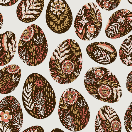 Seamless eggs pattern on the Easter theme. Graphic vector pattern with festive eggs in folk style