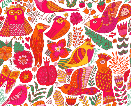 Seamless birds Textile composition, hand drawn style pattern.