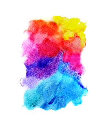 Bright watercolor background with rainbow colors on white