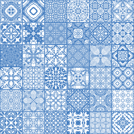 Patchwork seamless pattern, ornate portuguese decorative tiles azulejos. Abstract patchwork background.