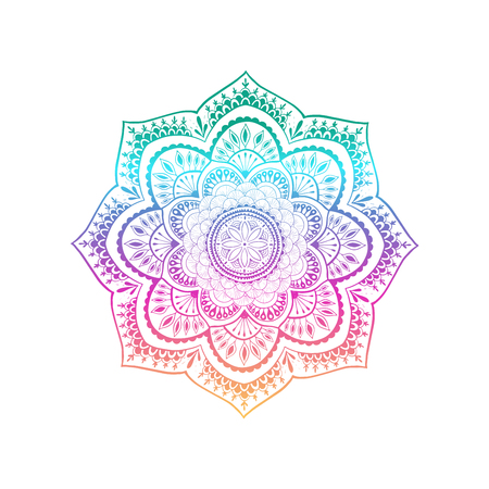 Vector ornamental mandala inspired ethnic art, patterned Indian paisley. Hand drawn illustration. Invitation element. Tattoo, astrology, alchemy, boho and magic symbol. - Vector