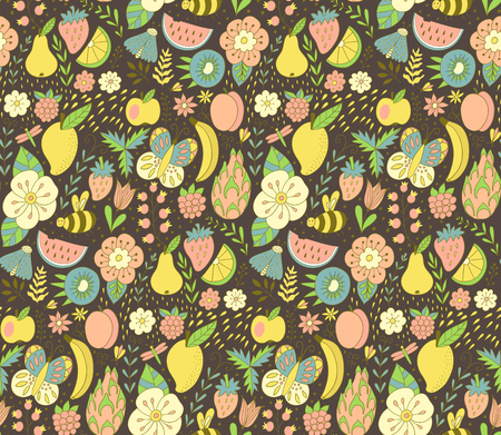 Fruit doodles seamless vector pattern. Hand drawn summer backdrop with fruit. - Vector
