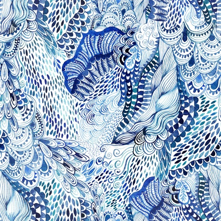 Seamless watercolor wave hand-drawn pattern, organic waves background seamlessly tiling. Zdjęcie Seryjne