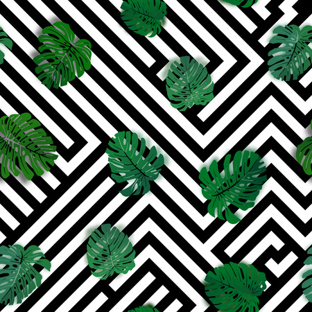 Vector seamless tropical pattern with monstera palm leaves. Ilustracja
