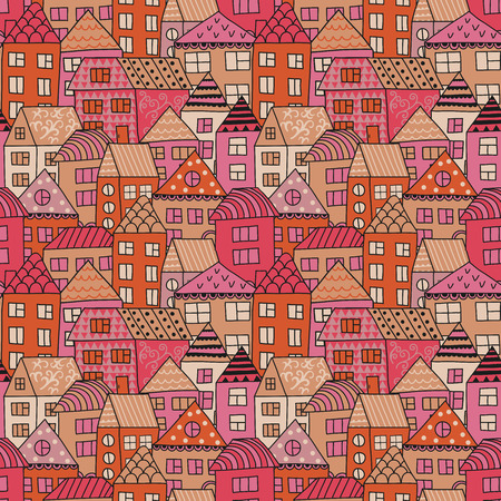 Vector doodle pattern with tiny houses. Hand drawn seamless ornament with hand drawn town. Simple city.