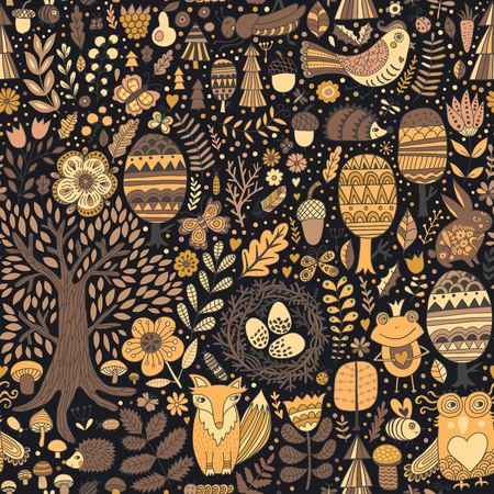 Doodle forest seamless pattern. Vector graphic design of floral elements with hand drawn fox, frog, owl, hedgehog, butterfly. Doodle floral backdrop. Modern botany.