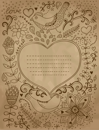 Vintage retro background with floral ornament and heart in the middle.You can design cards, notebook cover and so on. Floral ornament heart shape with place for your text. Valentines day background.