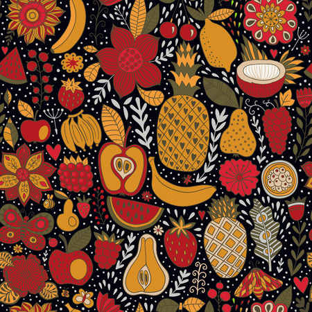Seamless background with various fruits. Vector fruit pattern. Ilustracja