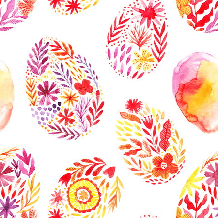 Seamless Easter pattern made of watercolor folk painted eggs. Watercolor drawing. Zdjęcie Seryjne