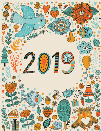 Vector greeting card, 2019 numbers, colorful numbers two, zero, one, nine. Elegant doodle background with 2018 sign. Vector flower Illustration. Happy new year - Vector illustration Ilustracja