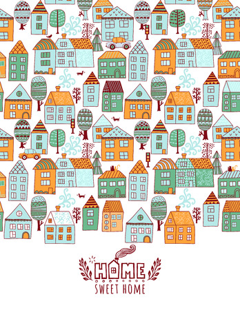 City scard design in line art style - landscape with houses. Isolated vector illustration of beautiful cityscape for property banner, real estateor card.