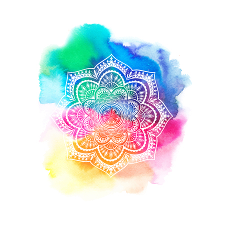 Round gradient mandala on white isolated background. Vector boho mandala in green and pink colors. Mandala with floral patterns. Yoga template - Vector