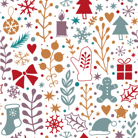 Simple vector seamless retro Christmas colorfull pattern