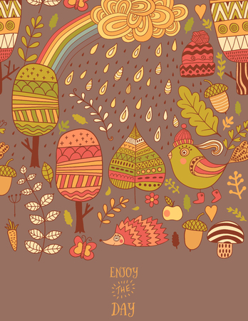 Forest greeting card with trees, leaf, bird, hedgehog. Cute vector poster with place for your text. Autumn illustration with rain and rainbow.