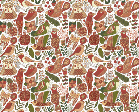 Seamless birds background. Textile composition, hand drawn style pattern. Vector illustration. Zdjęcie Seryjne