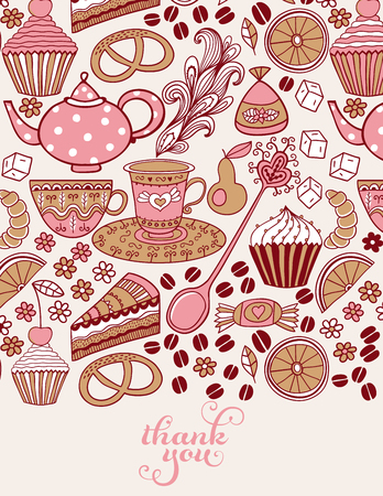 Tea doodles vector greeting poster. Hand drawn doodle tea time vector illustration. Isolated drink symbols collection. Coffee and confectionery in organic style. Zdjęcie Seryjne