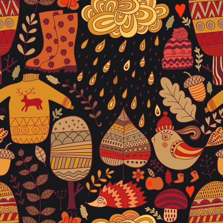 Vector pattern with rainy day in doodle style. Seamless autumn fabric background. Seasonal backdrop.