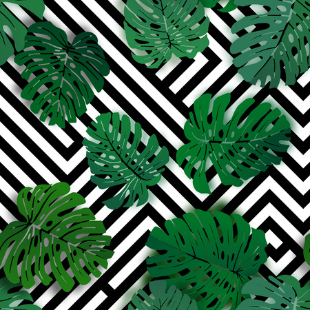 Vector seamless tropical pattern with monstera palm leaves. Exotic hawaiian textile botanical design. Floral vector backdrop on the black white geometric background.