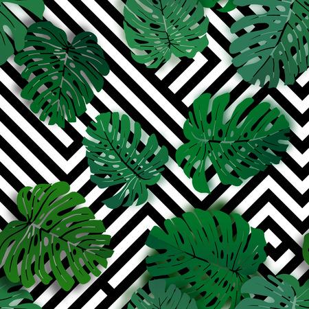 Vektor nahtloses tropisches Muster mit Monstera-Palmenblättern. Exotisches hawaiianisches botanisches Textildesign. Blumenvektorhintergrund auf dem schwarzen weißen geometrischen Hintergrund.