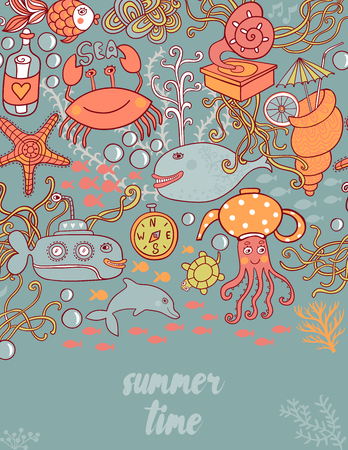 Summer time doodle greeting card.Under the sea card. Vector illustration with different underwater objects. Jelly fish, seashell, octopus, turtle, sea horse, submarine. Creative frame for your text