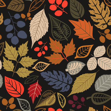 Simple leaves vector seamless pattern. Abstract vector texture. Leaf background.