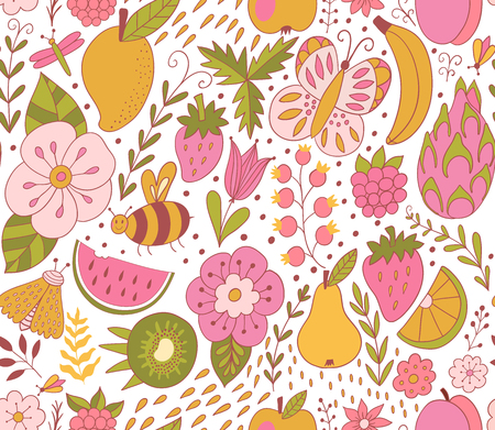 Fruit doodles seamless vector pattern. Hand drawn summer backdrop with fruit. - Vector illustration Ilustracja