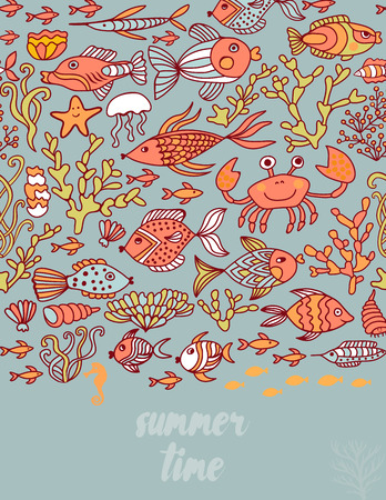 Summer time doodle greeting card.Under the sea card. Vector illustration with different underwater objects. Jelly fish, seashell, octopus, sea horse. Creative frame for your text