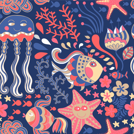 Vector underwater world seamless pattern. Hand drawn elements fishes, starfish, jellyfish, seaweed. Underwater world illustration. Sea life. Ilustracja