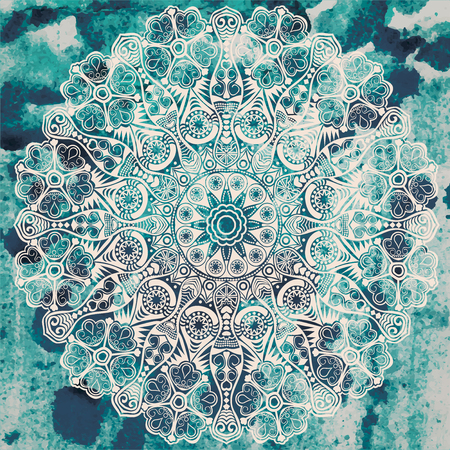 Vintage handdrawn mandala on watercolor texture.
