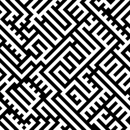 Abstract maze labyrinth seamless pattern, black and white lines backdrop