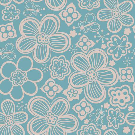Vector floral seamless pattern. Handdrawn botanical backdrop.