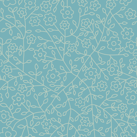 Seamless pattern with blue leaf. Botanical backdrop.