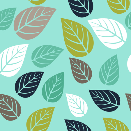 Seamless pattern with simple leaf. Botanical backdrop. Ilustracja