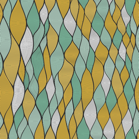 Vector pattern abstract background with wave ornament. Hand draw illustration.